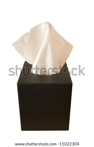 box of tissues isolated on white background - stock photo