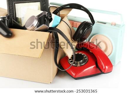 Box of unwanted stuff close up - stock photo