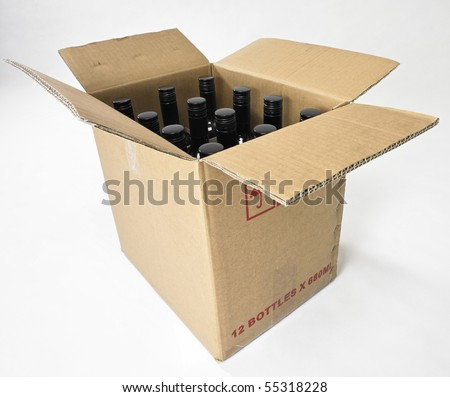 box of wine on the plain background - stock photo