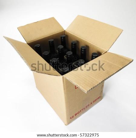 box of wine on the plain background - stock photo