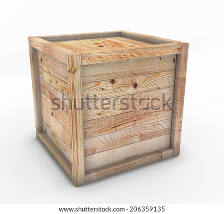 Box of wood isolated on a white background