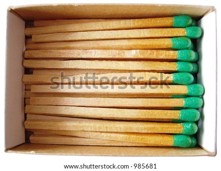 box of wooden matches isolated on white background - stock photo