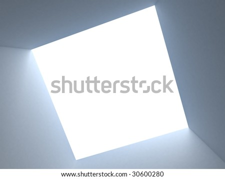 box on white sky - stock photo