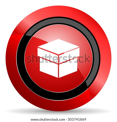 box red glossy web icon  - stock photo