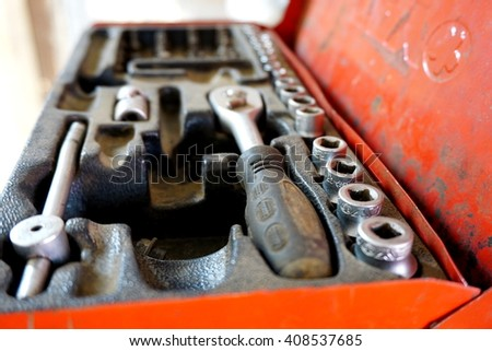 box set of fixing tools for cars  - stock photo