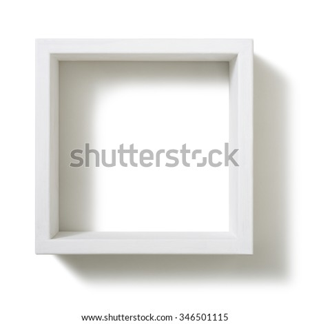 Box shelf isolated on white background. - stock photo