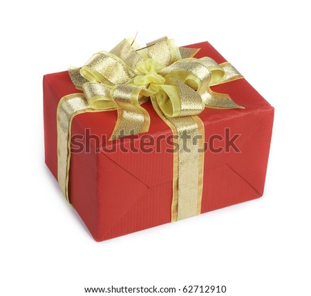 Box with a gift on a white background - stock photo