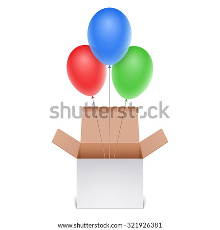 Box with balloons - stock photo
