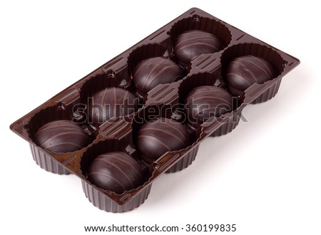Box with Chocolates Candy isolated on a white background - stock photo