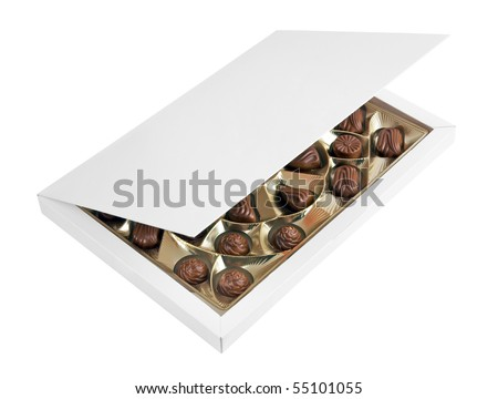 Box with chocolates isolated on a white background - stock photo