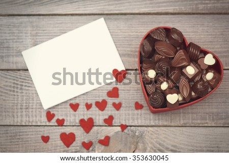 Box with chocolates on Valentine's day