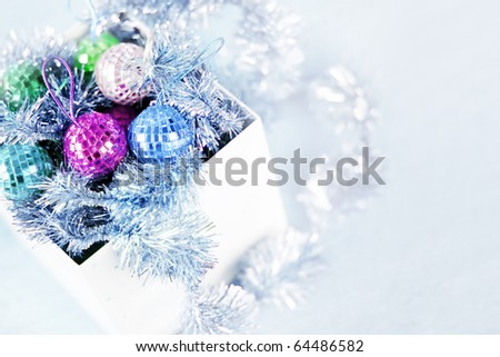 Box with Christmas ornaments