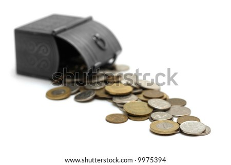 Box with coins, low depth of field, isolated on white - stock photo