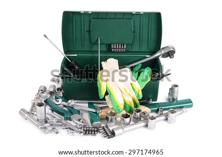 Box with construction tools isolated on white  - stock photo