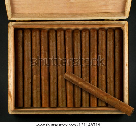 Box with cuban cigars - stock photo