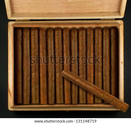 Box with cuban cigars - stock photo