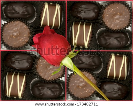 Box with delicious pralines and a rose - stock photo