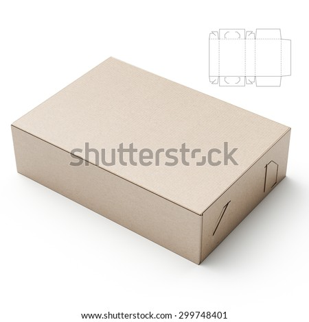 Box with Die Line Blueprint