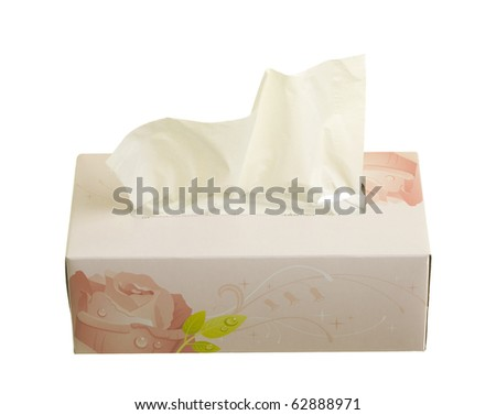 Box with facial tissues; isolated on white background - stock photo
