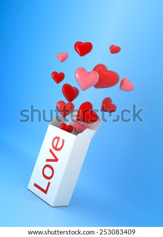 Box with fly hearts. Love remedy concept illustration. - stock photo
