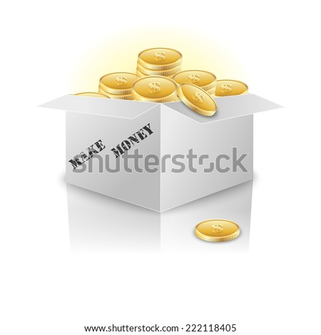 Box with gold coins.  - stock photo