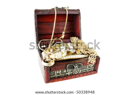 box with golden accessories - stock photo