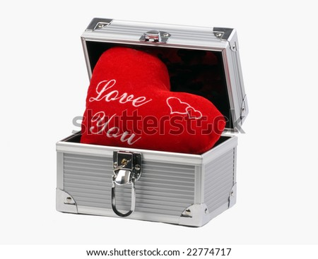 box with heart on white background