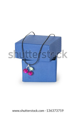 box with jewellery on the white background