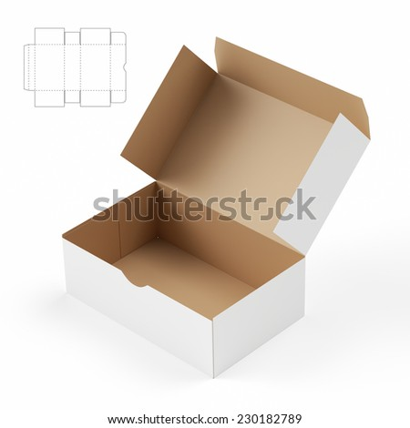 Box with Lid and Die Cut Template Layout - stock photo