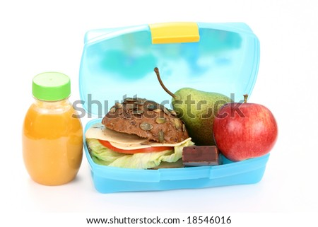 box with lunch - delicious sandwich and fruits close-ups - stock photo