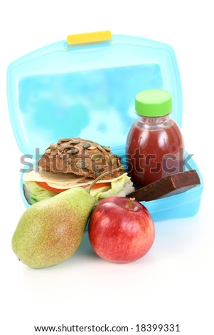 box with lunch - delicious sandwich fruit and juice on white - stock photo