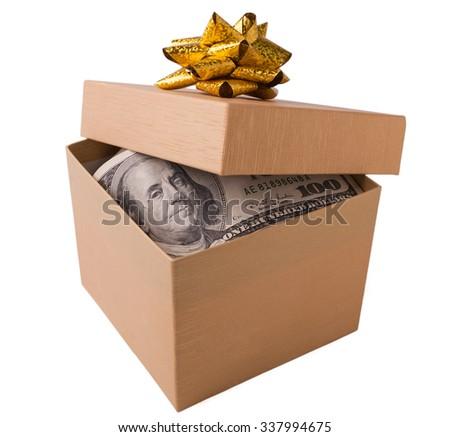 Box with money - stock photo