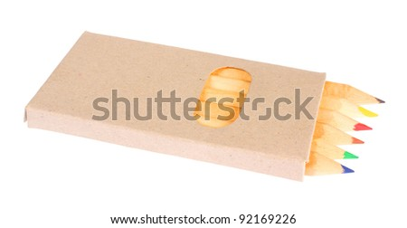 Box with pencils, isolated against white background