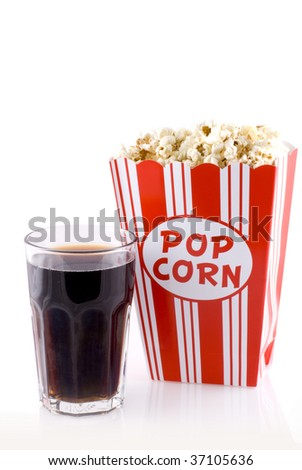 Box with popcorn and a glass of cola isolated on white.