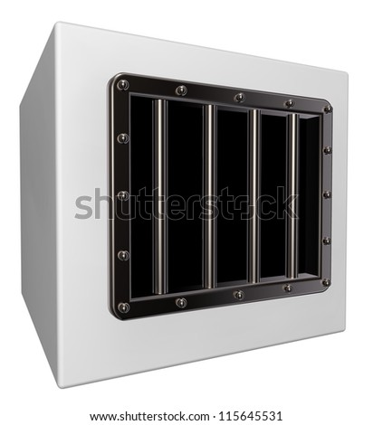 box with prison window - 3d illustration - stock photo