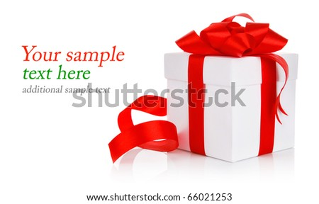 box with red bow isolated on white background