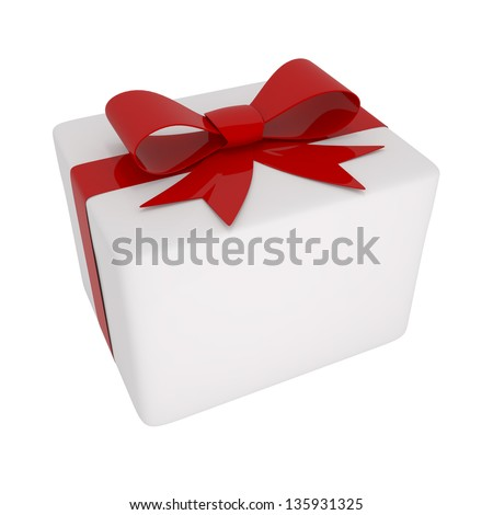 Box With Red Bow Isolated on white - 3d illustration