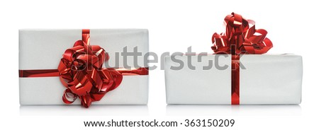 box with red ribbon - stock photo
