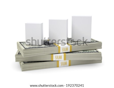 Box with software stand on pack of dollars. White background