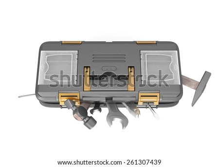 Box with tools top view isolated on white background. 3d render image. - stock photo