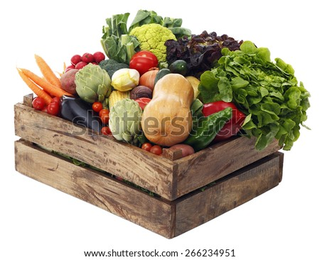 Box with vegetables on white background  - stock photo