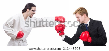 Boxer and businessman boxing isolated on white - stock photo