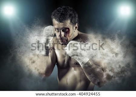 Boxer around splash drops in action. - stock photo
