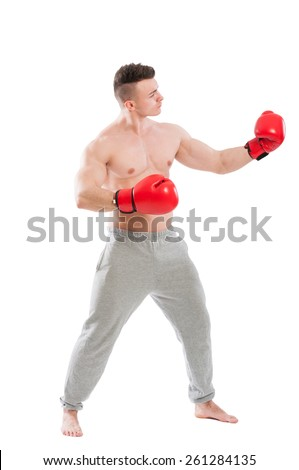 Boxer challanging and opponent isolated on white background - stock photo