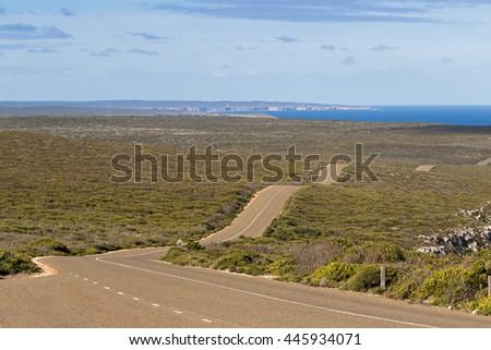 Boxer Drive, windy wavy roadway, located on Kangaroo Island, South Australia - stock photo
