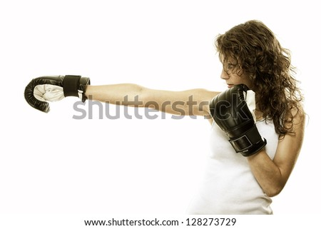 Boxer fit woman boxing - isolated over white background - stock photo