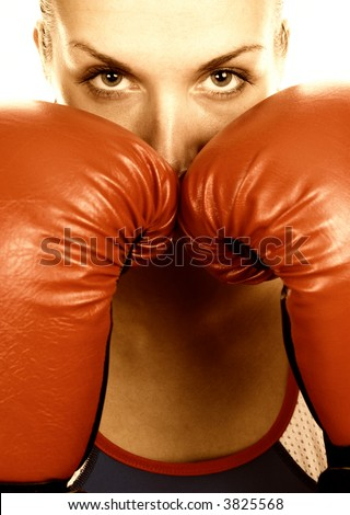 Boxer girl - stock photo