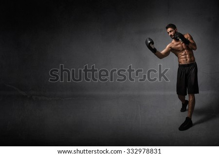 boxer in lateral position, copyspace on background - stock photo
