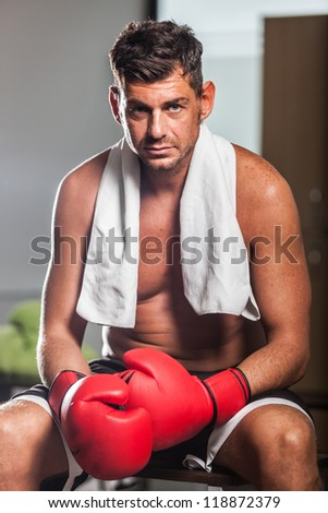 Boxer in the Locker Room - stock photo