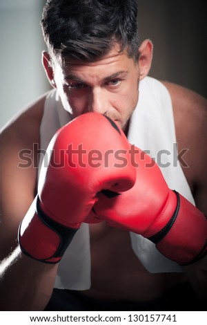 Boxer in the Locker Room,Italy - stock photo